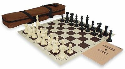 Executive Tournament Double Weighted Plastic Chess Set Kit Black Ivory Brown