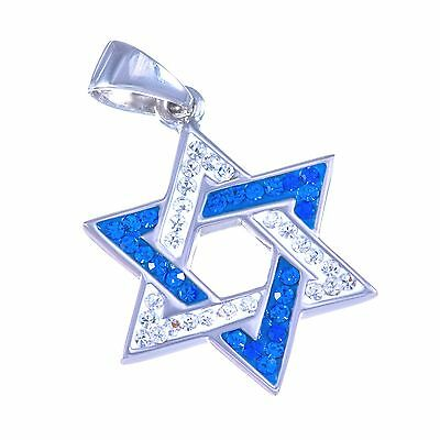 Jewish Magen David sterling silver 925 star of David swarovski Judaica pendant