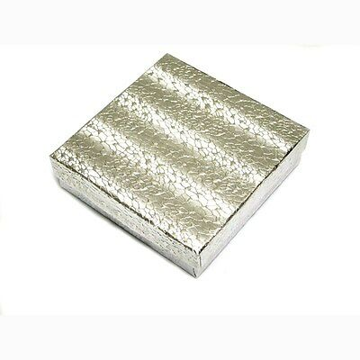 "Wholesale 100 Silver Cotton Filled Jewelry Gift Boxes 3 1/2"" x 3 1/2"""