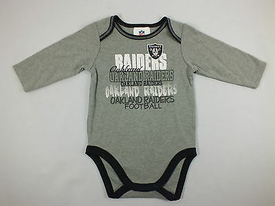 Oakland Raiders Nfl Babies Black And Grey Onesies 2 Piece Set New A34