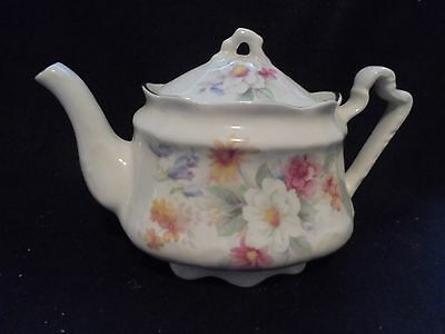 "Teapot 3 1/2""Wood & Son 6288 White/Pink,blue orangeFlowers/Gold trim 2 Cup Multi"