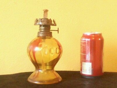 Vintage Glass Oil Lamp Made In Hong Kong - Yellow Glass With Red Streaking