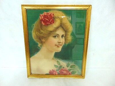 Antique Victorian Art Nouveau Print Of Woman On Linen