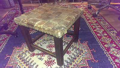 Antique leather solid stool- JPS