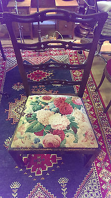 Stunning wooden antique chair with flower pattern seat - JPS