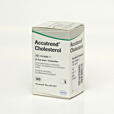 New Accutrend Cholesterol 25 Strips/vial Roche Cobad Item#05213312160