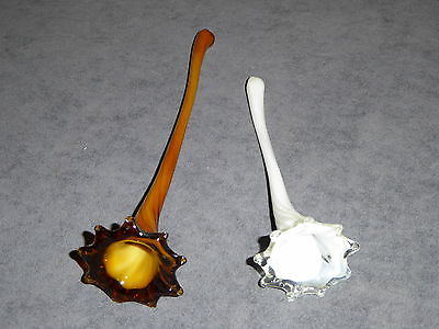 Two Old Vintage Antique Art Glass Hand Blown Flowers Milk White And Amber Brown