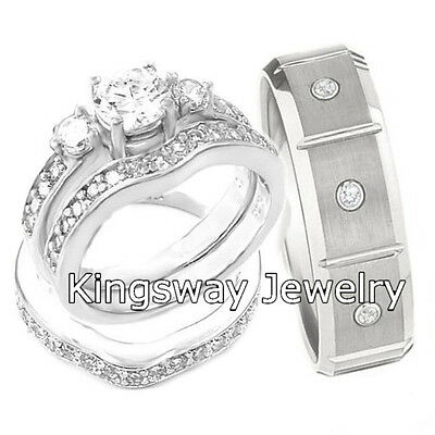 His and Hers Engagement Wedding Rings 3 pc ENGAGEMENT 925 Sterling Silver SET