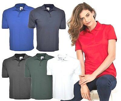 Ladies Polo Shirt 100% Cotton Pique T-Shirt Unisex Loose Fit Size 10 to 28