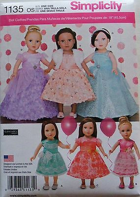 """Simplicity 1135 Pattern For Party Dresses 18"""" Dolls - New Release 2015 Beautiful"""