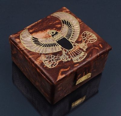 Egyptian Hand Made Falcon Horus Genuine Leather Jewelry Box Gift US EXPRESS SHIP