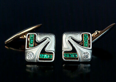 Art Nouveau / Jugendstil Antique Diamond Emerald Platinum Gold Cufflinks