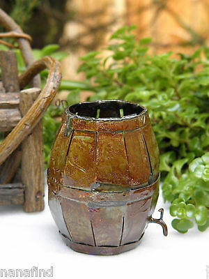 Miniature Dollhouse FAIRY GARDEN Accessories ~ Metal Antiqued Barrel with Spout