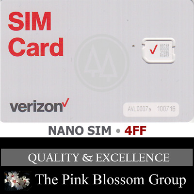 VERIZON NANO 4FF SIM Card • CDMA 4GLTE • NEW Genuine OEM •  Prepaid or Contract