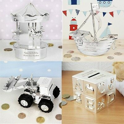 PERSONALISED Silver Plated Money Box Christening Birthday Gift Baby Boy Girl