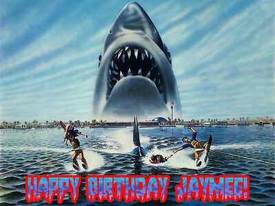 GREAT WHITE SHARK Edible ICING Image CAKE Decoration Topper Jaws FREE SHIPPING