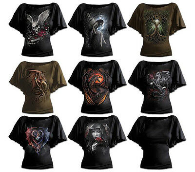 Tattoo Roses Rock Spiral Direct ENTWINED Boat Neck Bat Sleeve Top Biker Goth