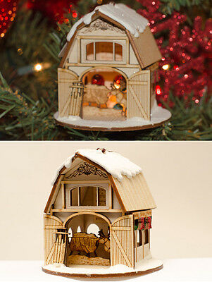 Ginger Cottage Wooden Ornament - Santa Claus' Reindeer Barn - Made in the USA