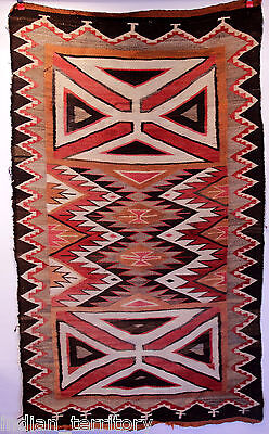 Antique Navajo Teec Nos Pos Rug / Red Mesa Large Maltese Crosses Motif c.1920