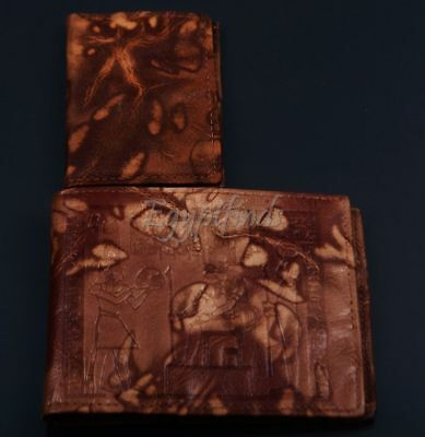 Egyptian Leather Sobek Crocodile Hathor & Ptah Wallet EXPRESS SHIPPING TO USA