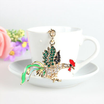 Lovely Rooster Chicken Charm Pendant Rhinestone Crystal Purse Bag Key Ring Chain