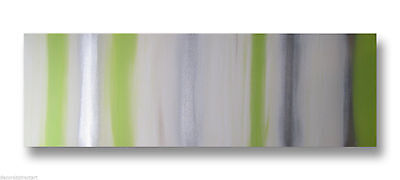 ABSTRACT CANVAS PAINTING  lime green silver. Modern wall Australia