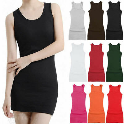 Extra Long Layering Ribbed Fitted Stretchy Cami Tank Top Mini Dress  M-2XL