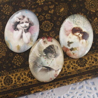 3x HUGE Glass Angel with you Oval Cameo Cabochon 30x40mm-Group A