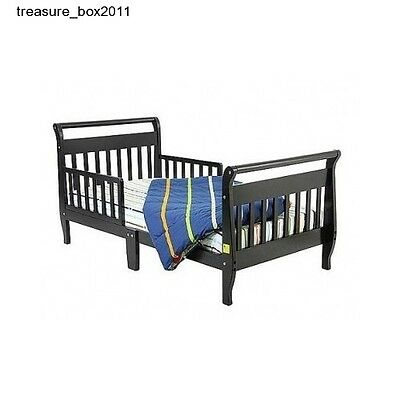 Toddler Bed Black Sleigh Dream On Me Kids Bedroom Furniture Safety Rail Wood