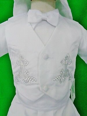 New Boy's 4pc Short Baptism Set>White>Bow tie>Hat>Sizes XS-XL (0-3M - 18-24M)