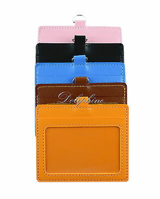 Horizontal ID Badge Holder 4 layers PU Leather with 1 ID Window and 1 Card Slot