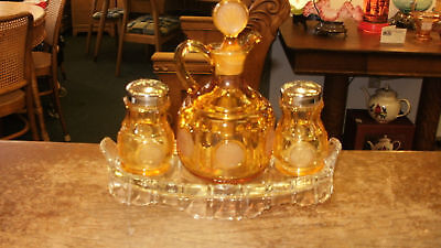 Fostoria Coin Amber Condiment Set -Cruet, Shakers, Tray
