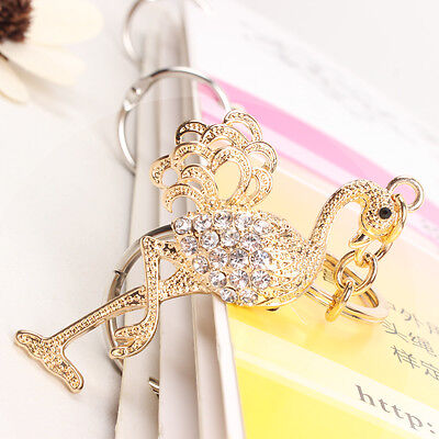 Flamingo Bird Fast Leg Cute Charm Crystal Purse Key Ring Chain Accessories Gift