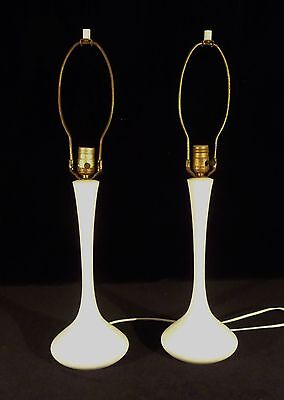 PAIR WHITE  MID CENTURY MODERN LAUREL PAINTED METAL TABLE LAMPS 1960s