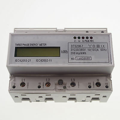 10A to 100A DIN Rail 220/380VAC 60Hz 3 Phase Watt-hour KWH Energy Meter