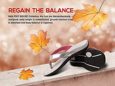 Premium FOOT BIO-TEC Women Orthotic Shoes Thongs Pain relief Arch Support Silver