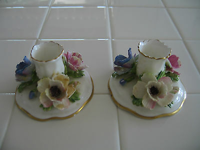 Vintage Pair Fine Bone China Floral Candleholders Crown Staffordshire England