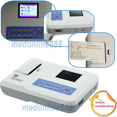 Digital 3 Channel 12 lead ECG EKG machine+PC software Electrocardiograph from US
