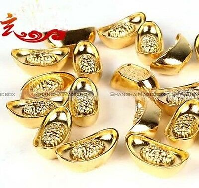 20PCS Chinese Lucky Money Golden Ingot for Feng Shui Fortune