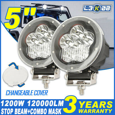2x 5INCH 120W CREE LED DRIVING LIGHT ROUND WORK LAMP SPOT FLOOD REPLACE HID 7""