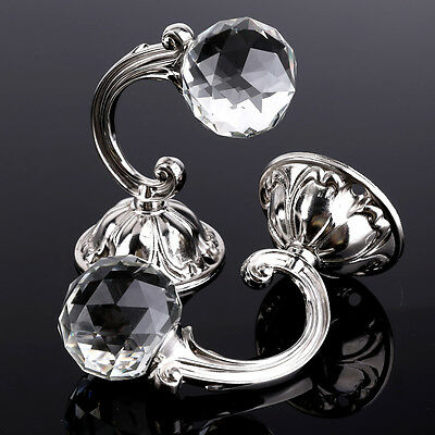 2x Large Round Shaped Clear Crystal Glass Curtain Tie Back Hooks