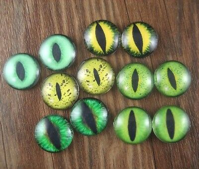 12x Glass (6 pairs) Green Tone Cat Eye Mix Round Cameo Cabochon 20mm