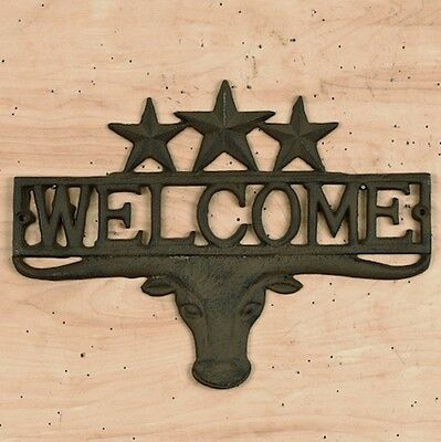 "Cast Iron ~  TEXAS STEER WECLOME PLAQUE {13.5"" x 9.5"" } ~ by PLD"