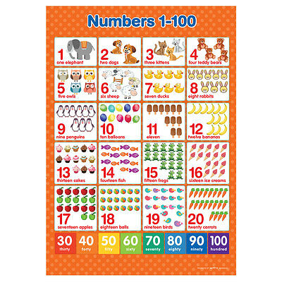 A3 Numbers 1-100  Poster Maths Educational Learning Teaching Resource