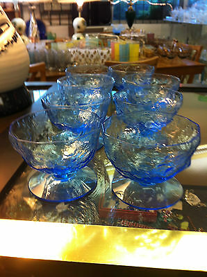 Morgantown Set of 8 Crinkle Gloria  Blue Footed Sherbet Dessert Glasses