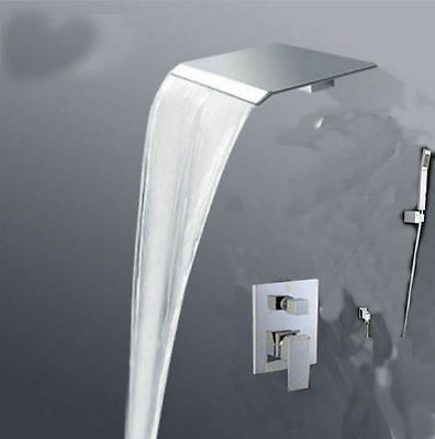 Modern luxury waterfall bathroom shower faucet with hand shower mixer tap Chrome