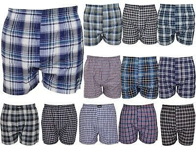 6 Pack Mens Woven Check Print Poly Cotton Boxer Shorts Underwear Plain Trunks