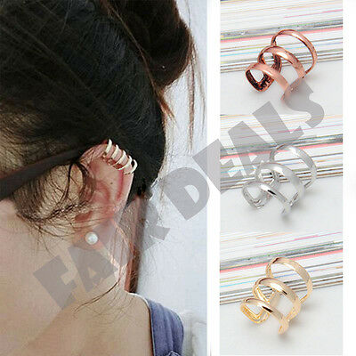 Silver Gold Bronze Ear Clip Cuff Earring No Piercing Upper Helix Cartilage Clip