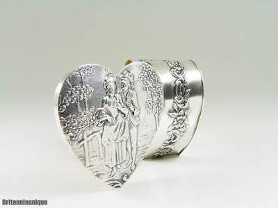 LOVELY Antique Continental Silver Heart Shaped Gallant Scene Pill / Snuff Box