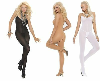 Plus Size Lingerie Sexy Opaque Bodystocking Catsuit 16 18 20 22 Black White Nude
